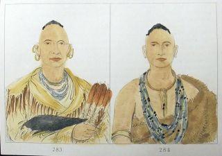 1842 G.  Catlin Handcol Engr Native American - Indian Sac And Fox Portraits photo