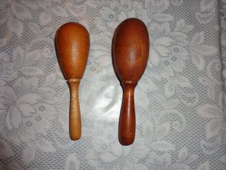 Two Vintage Wooden Egg Shaped Sock Darners - Sizes 6x1.  75 & 5.  5x1.  5 Deal photo