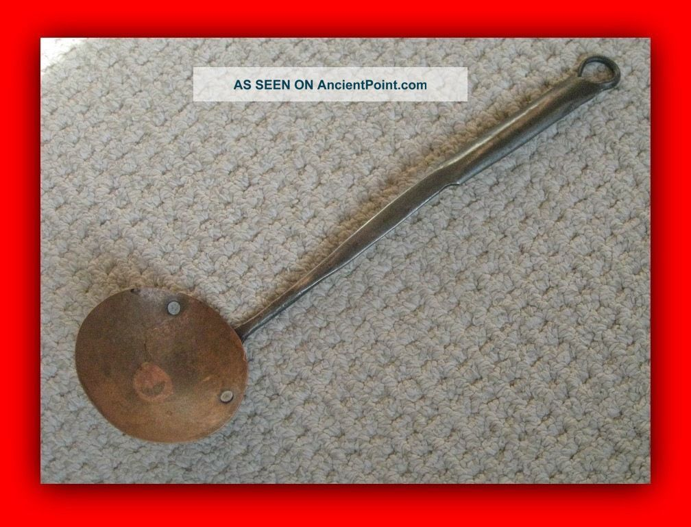 Antique Hand Made Copper And Wrought Iron Spoon - Hearth Ware photo