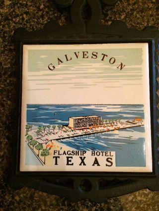 Vintage Galveston Flagship Hotel Cast Iron Tile Trivet 7 Seven Star Souvenir photo