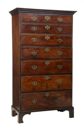 19th Century Mahogany Tall Chest Of Drawers photo