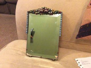 Vintage 1940s Barbola Mirror Flowers Ribbon Edge Beveled Glass photo
