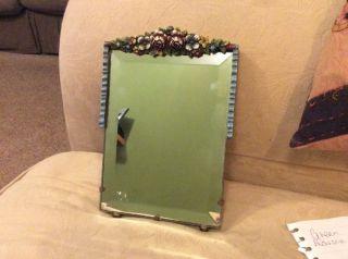 Vintage 1940s Barbola Mirror Flowers Ribbon Edge Beveled Glass photo