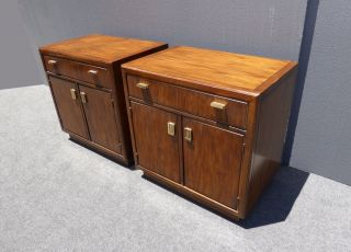 Pair Vintage Drexel Mid Century Solid Wood Nightstands Brass Hardware W Storage photo