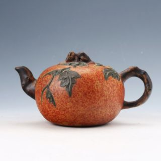 Collectable Yixing Sand - Fired & Leaves Little Mouse Cover Handwork Teapots photo