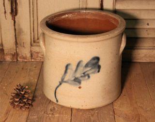 Antique Salt Glaze Stoneware Pottery Crock Cobalt Decoration photo