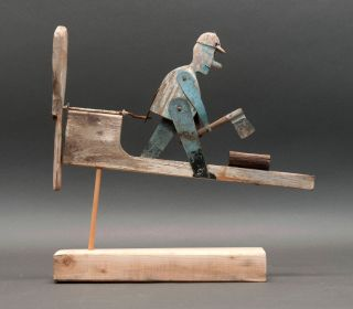 Vintage Primitive Folk Art Whirligig Handmade Wooden & Metal Man Log Splitting photo
