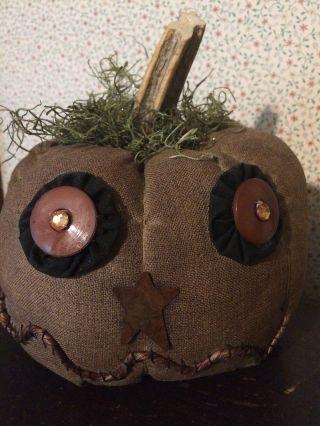 Primitive Grungy Halloween Jack O Lantern Jol Shelf Sitter Cupboard Tuck Ooak photo