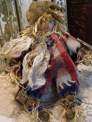 Primitive Scarecrow Doll,  Old Wool,  Old Photo,  Jeans,  Folk Art Scarecrow Doll photo