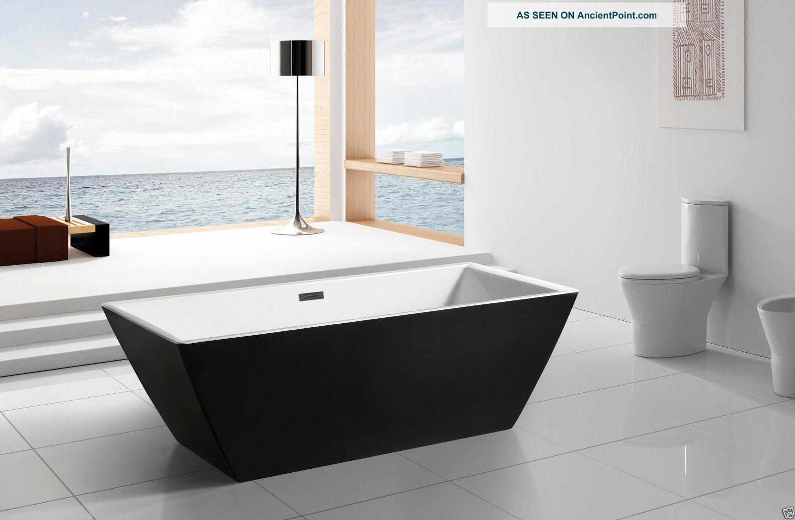 Aquapat Avalon Modern Acrylic Black Freestanding Soaking Bathtub Spa 126813 - B Bath Tubs photo