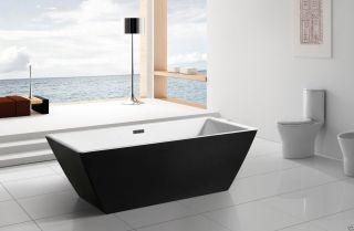 Aquapat Avalon Modern Acrylic Black Freestanding Soaking Bathtub Spa 126813 - B photo