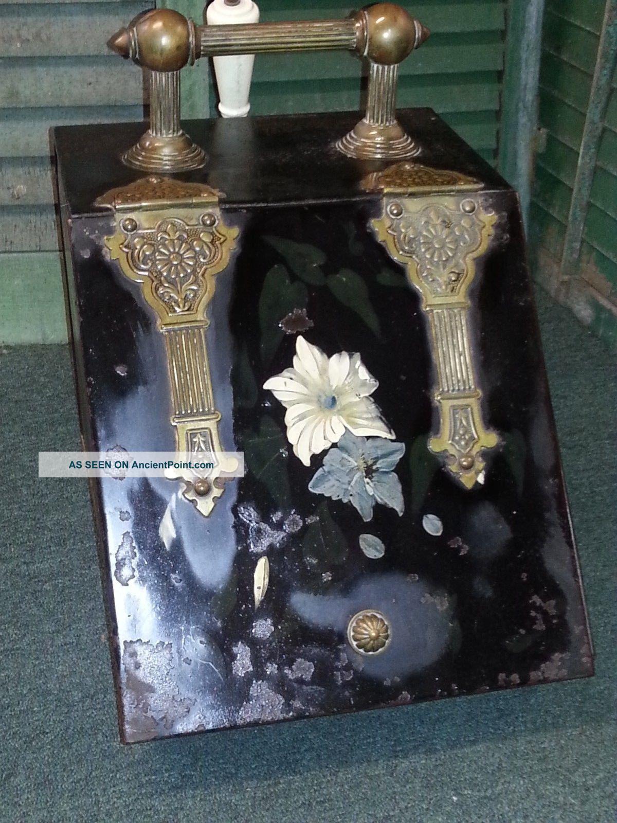 Antique Metal Brass Coal Fireplace Fire Scuttle Box Bin Hearth Ware photo