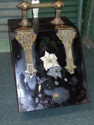 Antique Metal Brass Coal Fireplace Fire Scuttle Box Bin photo