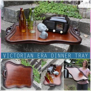 Antique French Victorian Era Dinner Tray Tableau Tablett 1860`70 Chic & Vintage photo
