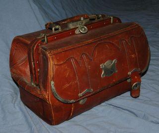 1870s Post Civil War Antique Leather Doctors Bag/satchel Riley & Lynch photo