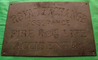 Brass Vintage Antique Sign Plaque Royal Exchange Assurance 9
