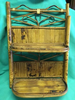 Vintage Bamboo Unique 2 Folding Shelves Curved And Bent Design photo