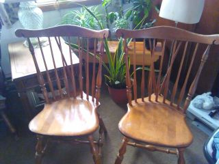 Vintage S.  Bent & Bros.  Rock Maple Colonial Duxbury Windsor Side Chairs (2) photo