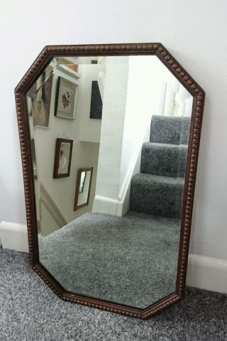 Antique Oak Art Deco 1930s Wall Mirror Bobbin Bevel Edged Rare Feature photo