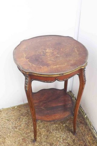 French Inlaid Two Tier Occasional Table photo