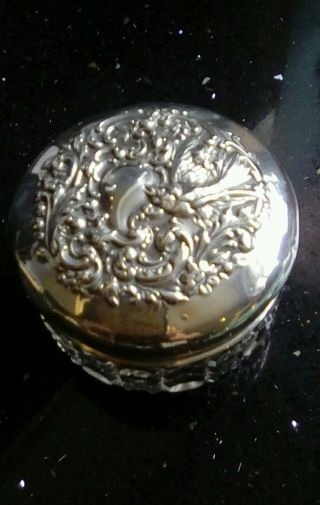 Antique Solid Siler And Crystal Vanity Pot photo