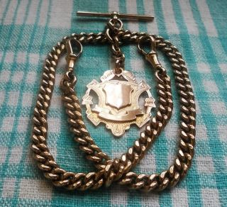 Antique,  9ct Gold,  1928,  Double Albert,  ' Slider ',  Chain,  55.  8 Grams,  All Parts photo