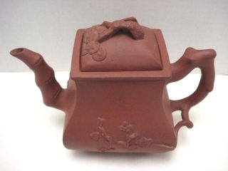 Vintage Chinese Yixing Zisha Red Clay Teapot Signed / Marked Branch Handle photo