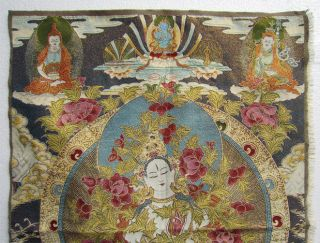 Tibet Tibetan Silk Embroidery Exquisite Thangka Tibetan Buddhist Meditation photo