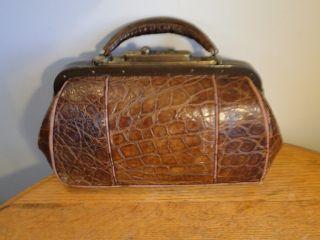 Antique Alligator Doctor Satchel Bag Gump Trunk Co Kcmo Brass Hardware photo