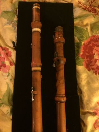 Antique Flute,  And Clarinet Boxwood,  Bone Rings,  G Astor London photo