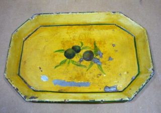Vintage Antique Toleware Hand Painted Metal Tray photo