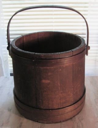 Antique Shaker Firkin Pail Or Bucket All Wood Hand Made Wonderful Patina photo