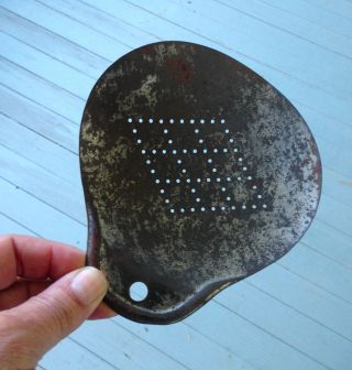 Antique Galvanized Tin Dairy Cream Or Maple Sap Skimmer,  Perforations photo