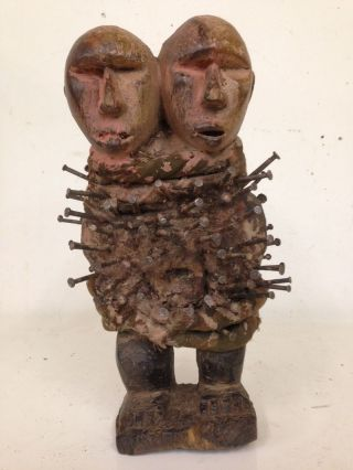 Congo: Tribal - Old African Twin Head Bakongo Nkisi Figure. photo