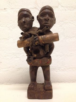 Congo: Tribal And Old African Twin Head Bakongo Nkisi Figure. photo