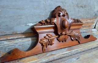 24.  08 In Antique French Carved Wood Rococo Coat Of Arms Wall Door Pediment 19 Th photo