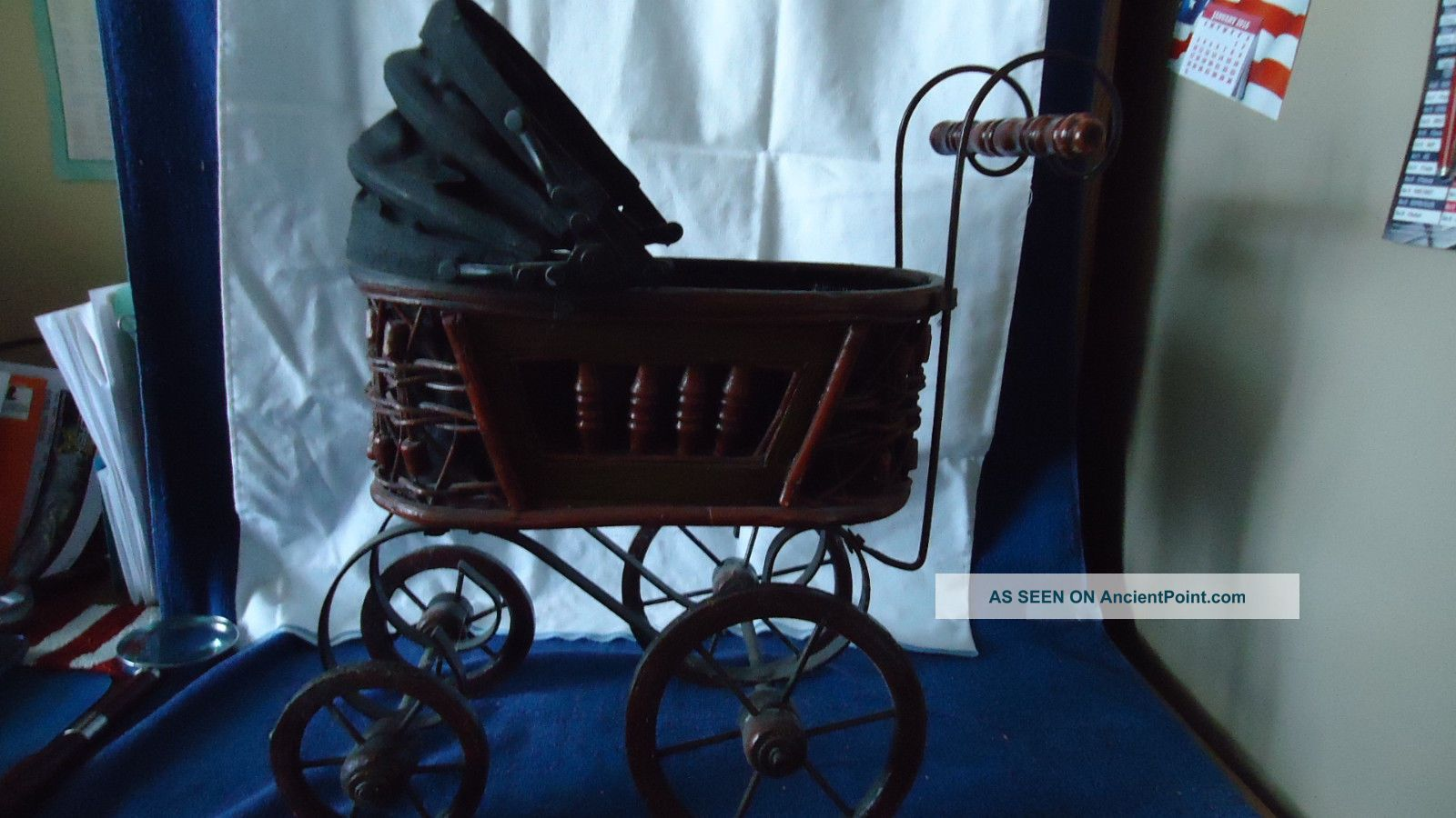 Vintage Wicker Baby Doll Buggy With Wooden Wheels Baby Carriages & Buggies photo