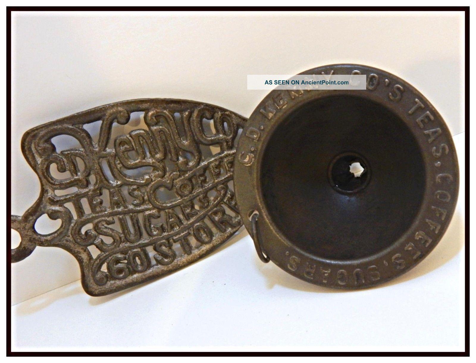 Antique/vintage C.  1920 - 30 Advertising Cd Kenny Co Iron Trivet & Tin Funnel Euc Trivets photo
