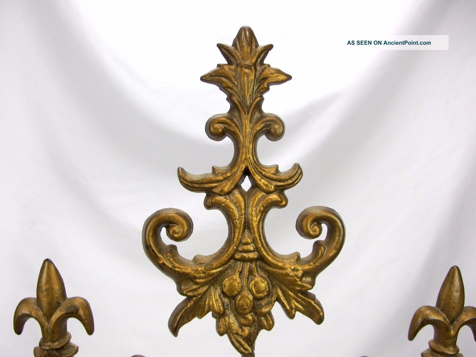 Antique Gold Gilt Cast Iron 3 Panel Fire Screen Fleur De Lis Molded Glass Hearth Ware photo