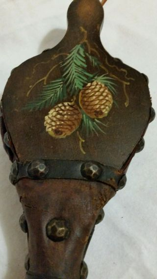 Antique 19th Century Hand Made Hand Painted Wood & Leather Fire Bellows photo