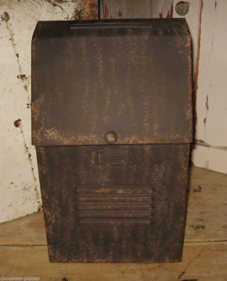 Big Brown Metal Mailbox Kitchen/office/porch Primtive/french Country Farm Decor photo