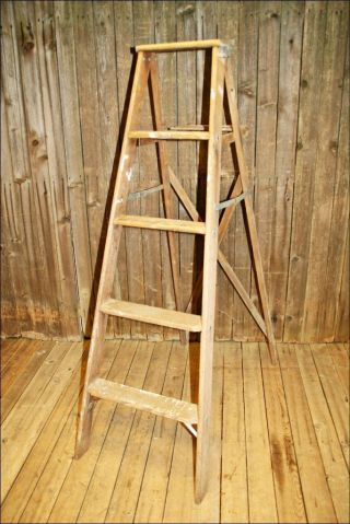 Vintage Wood Ladder 4 Step Store Display Shelf Primitive Chic Country Old Rustic photo