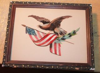Antique Patriotic Feather Work Art Of Bald Eagle Shield And Us Flag In Frame photo