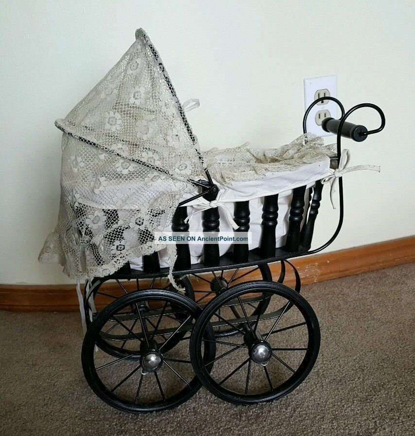 Vintage Doll Baby Stroller Wooden Wood W/ Metal Wheels & Lace Cover Gorgeous Baby Carriages & Buggies photo