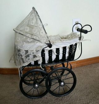 Vintage Doll Baby Stroller Wooden Wood W/ Metal Wheels & Lace Cover Gorgeous photo