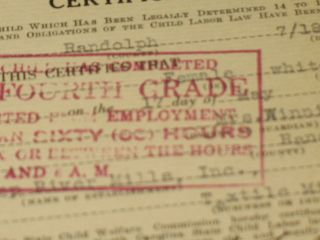 Rare Vintage Cotton Mill Worker Child Labor Certificate Dated 1927 photo