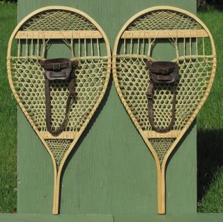 Antique Indian Made Bearpaw Snowshoes Perfect photo