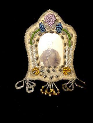 Vintage Iroquois Beaded Picture Frame Whimsey Folk Art Aafa photo