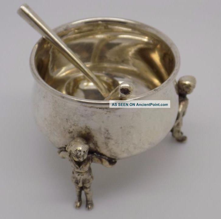 Rare Vintage Solid Silver Cauldron Shaped Mustard Pot,  2 Mini Ladles - Stamped Mustard Pots photo