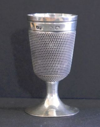 Antique Sterling Silver Thimble Cup And Thimble Jigger,  Hallmarked photo